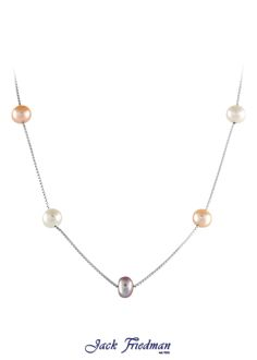Silver box chain with multi-coloured fresh water pearl jackfriedman.co.za Pearl Jewelry, Pearl Necklace, Water Pearls, Box Chain, Fresh Water, Beautiful Things, Necklaces, Jewellery, Rings