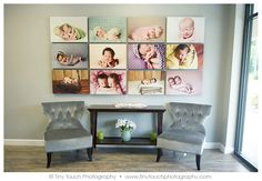What a gorgeous wall display - Studio Tour with Tiny Touch Photography - NewbornPhotography.com