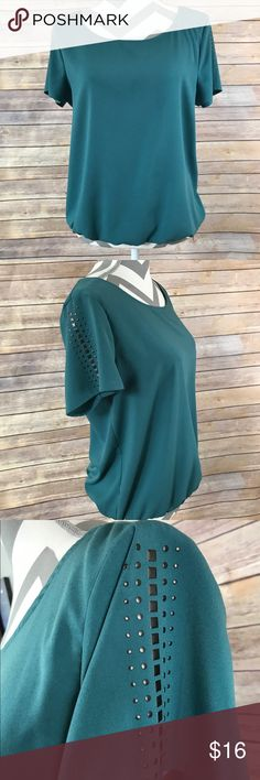 NWOT- A.N.A Women's Petite Large Top New without tags/ never worn only tried on! A.N.A Petite top, smocked hemline. Lightweight, semi-sheer. Trendy detail on flowy/ short sleeves. Size PL (Petite Large). a.n.a Tops Blouses