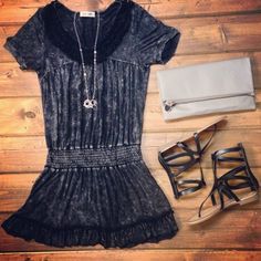 NEW Grey Cinched Waist Dress | Naughty Monkey Gladiator Sandals | Stone Clutch | Shop Hoity Toity for your favorite Summer Outfits