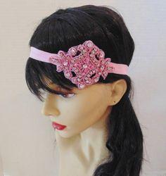 Art Deco Headband Pretty in Pink Rhinestone by BellaCescaBoutique, $28.50