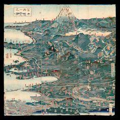 "Hashimoto Sadahide's 1859 ""Fuji ryodo ichiran no zu, Fugaku dochu ichiran [Panoramic view of two ways to climb Mt. Fuji and Panoramic view of routes to Mt. Fuji]."" Collection of Japanese Maps of the Tokugawa Era, Rare Books and Special Collections, University of British Columbia Library."