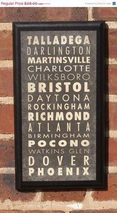 NASCAR Track List Vintage Style Wall Plaque