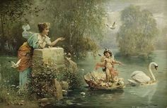 Hans Zatska Austrian Academic Painter, 1859-1949 Beauty Bathing Water Nymphs Water Nymphs In The Night Sky Spring Time Love Letter The Rose Bower A Classical Idyll A Water Idyll Spring Love Venus a…