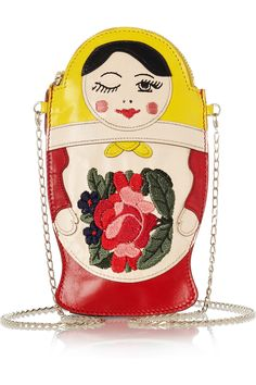 Charlotte Olympia | Baboushka embroidered leather clutch | NET-A-PORTER.COM