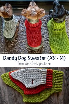 Dandy Dog Sweater: Easy Crochet Dog Sweater Pattern This dog sweater pattern comes in three sizes that will fit tiny dogs to medium size dogs! Whip up a sweater for your pup using this free crochet pattern. Crochet Dog Sweater Free Pattern, Crochet Dog Patterns, Knit Crochet, Crochet Hats, Blanket Crochet, Crochet Stitches, Crochet Ideas, Knit Dog Sweater, Free Crochet Patterns For Beginners