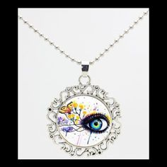 NEW - ARTISTIC BLUE EYE BUTTERFLY GLASS OPTIC SILVER SCROLL PENDANT NECKLACE #Handmade #Pendant