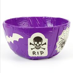 Duct tape Halloween RIP treat and candy bowl http://duckbrand.com/products/duck-tape/colors/standard-rolls/purple-188-in-x-20-yd?utm_campaign=dt-crafts&utm_medium=social&utm_source=pinterest.com&utm_content=duct-tape-crafts-halloween