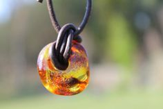 Baltic Amber Pendant Raw Stone Men Necklace by DreamsFactory