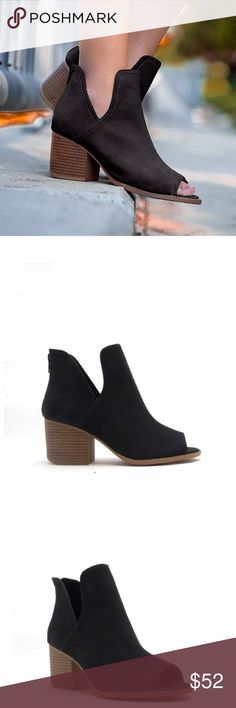 """Black Western Peep Toe Nubuck Bootie Pre-order will ship in approx. 5 business days.  A western – inspired bootie that adds a cool factor with a peep toe and side cut out accents. The low stacked heel keeps this bootie comfy and minimal throughout the day.  Material: Man made, Nubuck Leatherette  Sole: Synthetic  Measurement: Heel height approx. 2 1/4"""". Platform approx. 1/4""""  True to size Shoes Ankle Boots & Booties"""