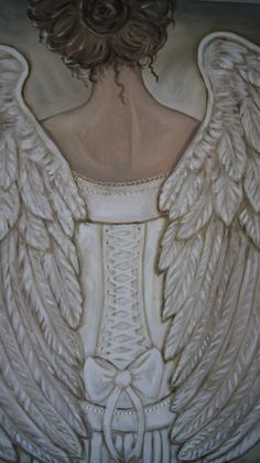 Her Morning Elegance Angel Painting Large 30 x 30 #angel #corset #wings