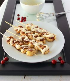 Cinnamon Roll Kabobs by @whatscookingwithruthie .com #cinnamon #cinnamonroll #breakfast #dinner breakfast kabobs, roll kabob, food, christmas morning, holiday baking, minis, recip, mini cinnamon rolls, christmas breakfast