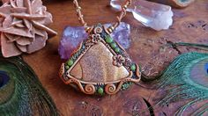Sacred pendant  Necklace  Picture Jasper Gemstone  by AnandaLuz