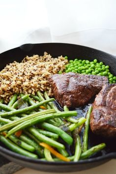 One Skillet Dinner Recipe with Steak, Rice, Peas and Green Beans   meal healthy recipes