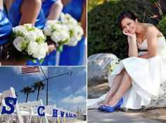 Bridesmaids wear royal blue dresses, clutch ivory fresh flower bouquets - like these!