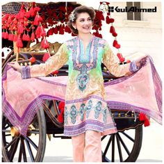 Gul Ahmed Collection floral dresses 2017 for women
