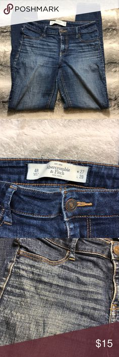 Abercrombie and Fitch Jeans. These are ok pair of Abercrombie and Fitch Jeans. There are crimps on the front and back (see photo for details)  Waist 27 Length 29 Abercrombie & Fitch Jeans