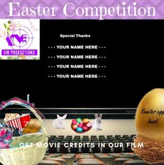 Easter is coming and what better way to celebrate than with an Easter Egg Hunt competition!   We are offering you the chance to get your name in the credits of our movie, making this the perfect prize for film lovers! This 'once in a lifetime' opportunity is usually only available with a minimum … Get Movies, Competition Time, Once In A Lifetime, Egg Hunt, Easter Eggs, Opportunity, Lovers, Names, Film