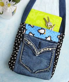 Penguin Polka Dot Upcycled Jean Purse Hobo Bag by BreezyGirlArts, $45.00