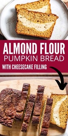 Almond Flour Pumpkin Bread with Cheesecake Filling is a gluten free bread that is also paleo approved. Rich, decadent, and perfectly sweet. The swirl of cheesecake filling in this pumpkin bread is perfect. #almondflour #pumpkin #bread #cheesecake #filling #paleo #glutenfree #best Pumpkin Pasta Sauce, Vegan Pumpkin Soup, Pumpkin Spice Syrup, Pumpkin Cream Cheese Bread, Vegan Cream Cheese, Pumpkin Bread, Baking Recipes, Real Food Recipes, Yummy Food