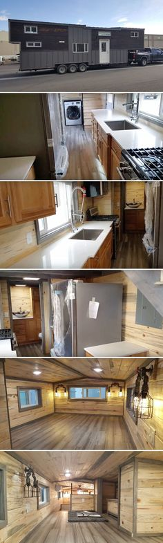 This massive gooseneck tiny house by Alpine Tiny Homes is appropriately named the Tiny Giant. The exterior is a mix of Yakisugi pine siding and grey metal.