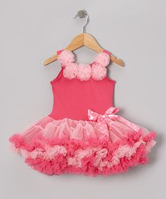Take a look at this Hot Pink Rosette Petti Dress - Toddler & Girls by Sparkle Adventure on #zulily today!