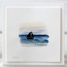 By Birgit Edblom. Sailboat stamp from Technique Tuesday. Nautical Cards, Retirement Cards, Creative Workshop, Sea Theme, Beautiful Handmade Cards, Pretty Cards, Watercolor Cards, Masculine Cards, Flower Cards