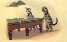 Kittens Playing Pool Victorian Cat Illustration • Modern Postcard