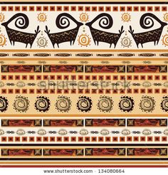 pattern with African ornaments - stock vector