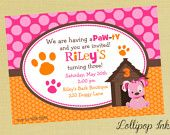 Pink Puppy Printable Invitation, Puppy Dog Personalized Birthday Invite, Pink Puppy Party