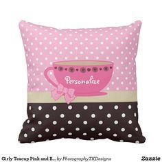 Girly Teacup Pink and Brown Polka Dot Bow and Name