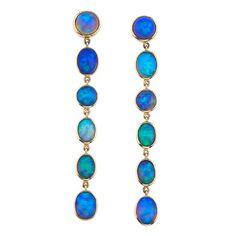 Classic Opal Gold Earrings | See more rare vintage Dangle Earrings at https://www.1stdibs.com/jewelry/earrings/dangle-earrings