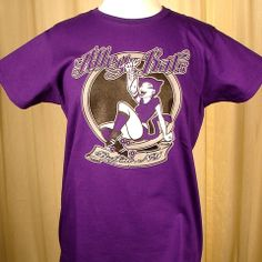 Alley Kats QCRG T Shirt:This is a purple colored ladies T Shirt with the Alley Kats logo on the front. Show your support of a Western New York team, that's not football, by buying a Queen City Roller Girls T Shirt! Cats Like Us is now carrying T shirts from all five of the teams: Alley Kats, Devil Dollies, Nickel City Knockouts, Suicidal Saucies... $15.00