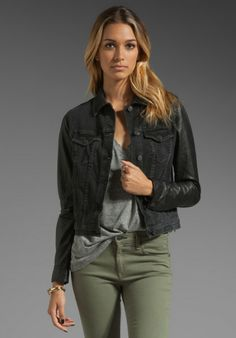 Love this: The Jean Jacket with Leather Sleeves in Black @Lyst