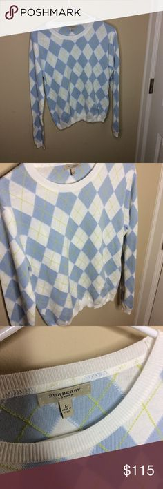 Classic argyle Burberry sweater Authentic classic Burberry sweater. Barely worn, size large, cream blue green. Beautiful condition and classy. Offer tool Burberry Sweaters