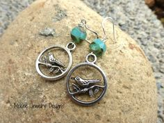 Sterling Silver Birds and aqua Czech Picasso glass earrings. McKee Jewelry Designs