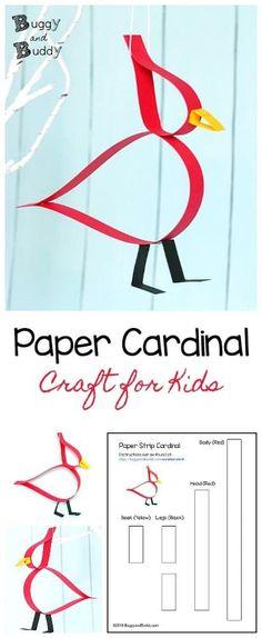 Adorable Cardinal Craft Using Just Paper Strips! Paper Strip Cardinal Craft for Kids: Make this cute bird craft using just … Winter Crafts For Kids, Paper Crafts For Kids, Diy Arts And Crafts, Spring Crafts, Projects For Kids, Easy Crafts, Art For Kids, Winter Ideas, Handmade Crafts