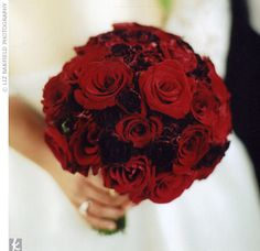 Red rose bouquet.