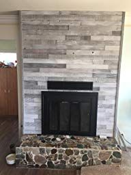 Plank and Mill Reclaimed Barn Wood Wall Panels - Simple Peel & Stick Natural Aged Planks - 1 Sq Ft Sample Pack of 5 & Wide: Whitewashed & Classic Barn Wood Reclaimed Barn Wood, Rustic Wood, Wood Planks, Wood Paneling, Modern Rustic, Modern Farmhouse, Wood Panel Walls, Cozy Fireplace, Raw Wood