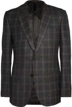 $319, Charcoal Plaid Blazer: Kingsman Charcoal Brushed Wool Window Pane Checked Blazer. Sold by MR PORTER. Click for more info: https://lookastic.com/men/shop_items/163476/redirect
