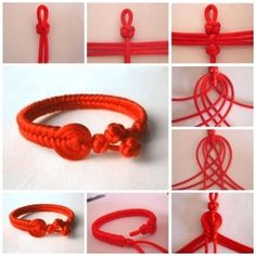 friendship bracelet patterns, bracelet knots instructions, square knot bracelet two colors, how to tie a bracelet knot, square knot hemp bracelet Red String Bracelet, Bracelet Knots, Diy Bracelet, Braided Friendship Bracelets, Diy Schmuck, Micro Macrame, Macrame Jewelry, Bracelet Tutorial, Handmade Bracelets