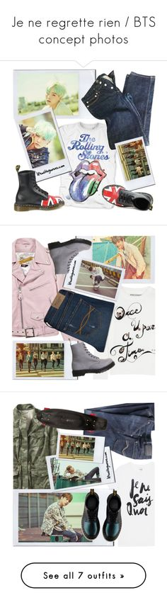 """Je ne regrette rien / BTS concept photos"" by the92liner on Polyvore featuring A.P.C., Dr. Martens, Schott NYC, Alice + Olivia, Abercrombie & Fitch, Sincerely, Jules, Quiksilver, Wrap, rag & bone and Yves Saint Laurent"