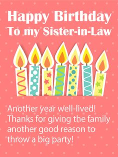 34 Best Birthday Cards For Sister In Law Images Anniversary