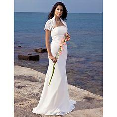 trompeta / Mermaid fara bretele matura / perie de tren sifon rochie de mireasa cu folie de dantela – USD $ 127.79