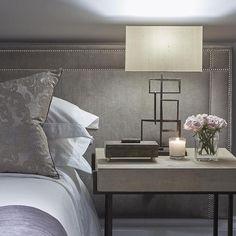 Gray Velvet Headboard with Gray Shagreen Nightstand, Contemporary, Bedroom