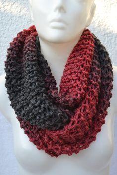 gestrickt - Loop Schlauchschal Schal rot anthrazit grau - ein Designerstück von Masche21 bei DaWanda