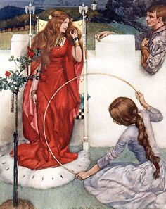 """How Sir Gareth ... came to the presence of his lady ... """"Le morte d'Arthur"""" (1910-11) illustrated by William Russell Flint"""
