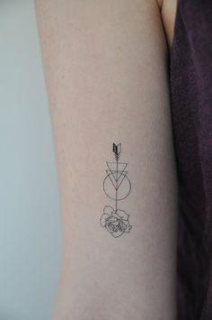 Rose Arrow Temporary Tattoo, Modern Illustration, Small Temporary Tattoo, Mother's Day Gift, Gift Idea, Fashion Accessories, Festival Wear
