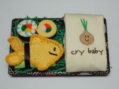 Organic Baby Neutral Onesie & Washcloth Sushi - Cry Baby Onion - Yellow Tawashi Fish