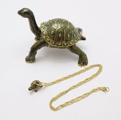 New Trinket Box Gift Crystals Galapagos Turtle Animal Necklace